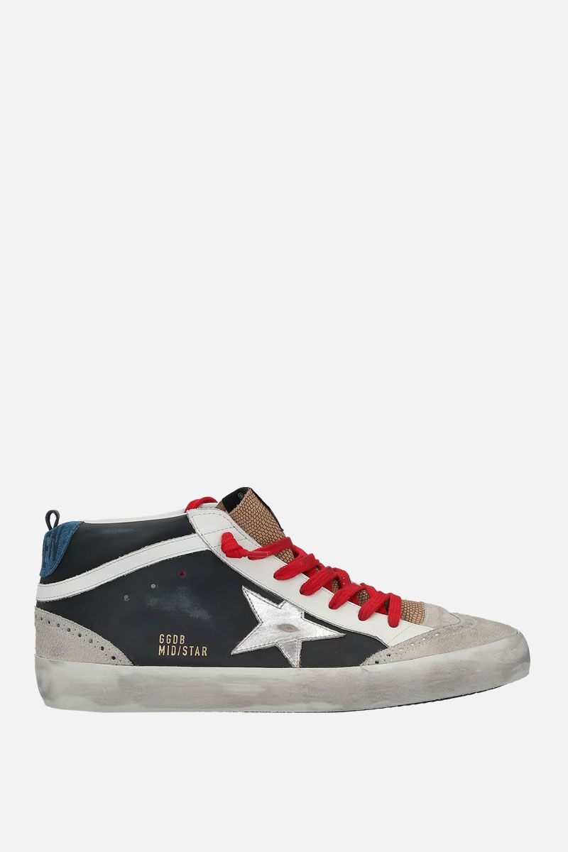 GOLDEN GOOSE DELUXE BRAND: Mid-Star sneakers in smooth leather and suede Color Black_1