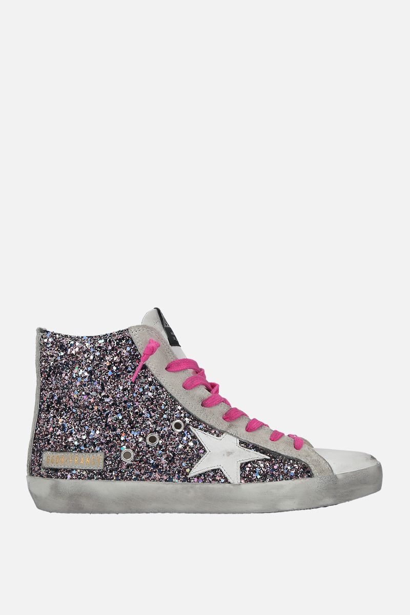 GOLDEN GOOSE DELUXE BRAND: Francy high-top sneakers in smooth leather and glitter Color Pink_1