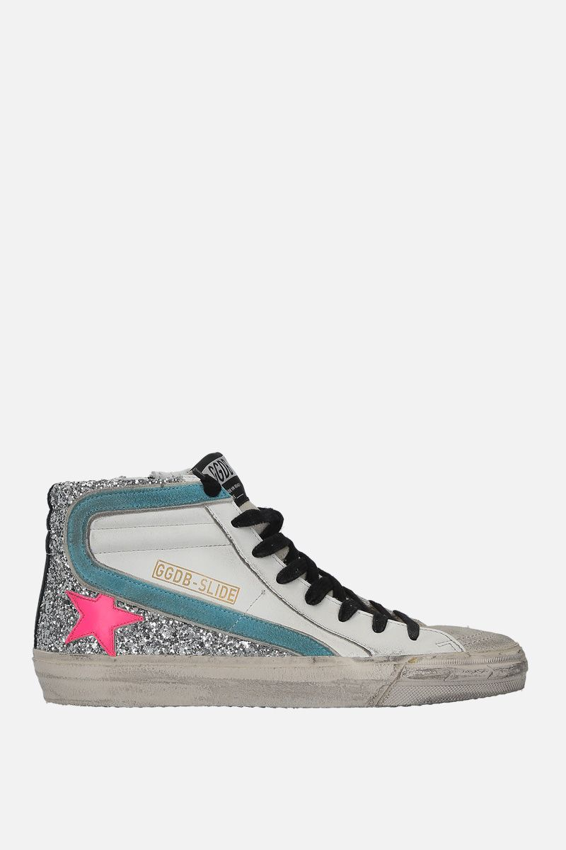 GOLDEN GOOSE DELUXE BRAND: Slide high-top sneakers in smooth leather and glitter Color Multicolor_1