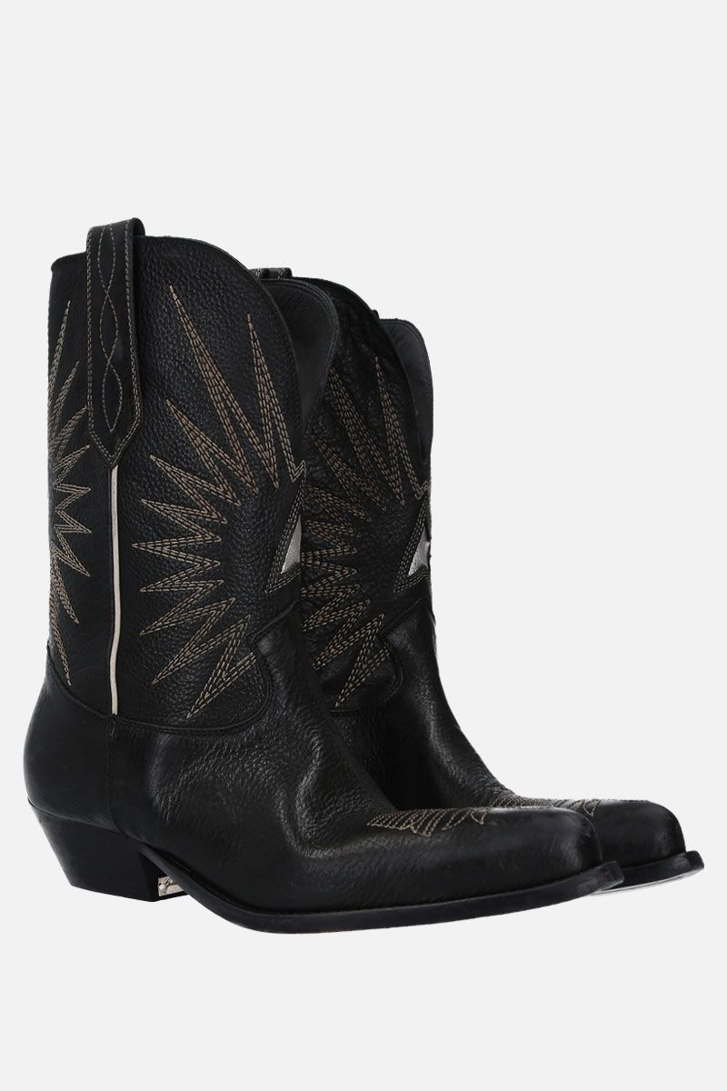 GOLDEN GOOSE DELUXE BRAND: Wish Star texan boots in vintage leather Color Black_2