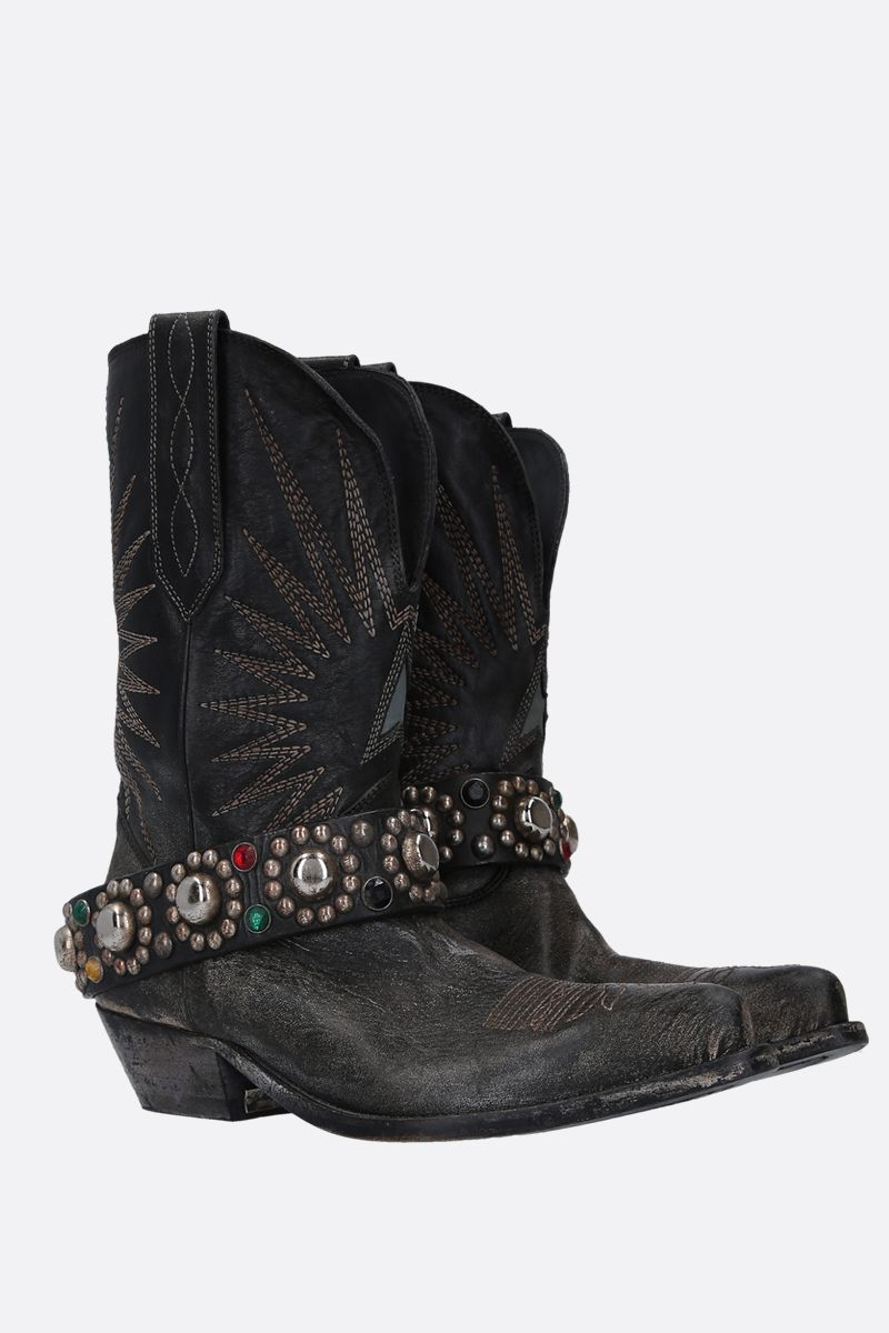 GOLDEN GOOSE DELUXE BRAND: Wish Star western boots in vintage leather Color Black_2