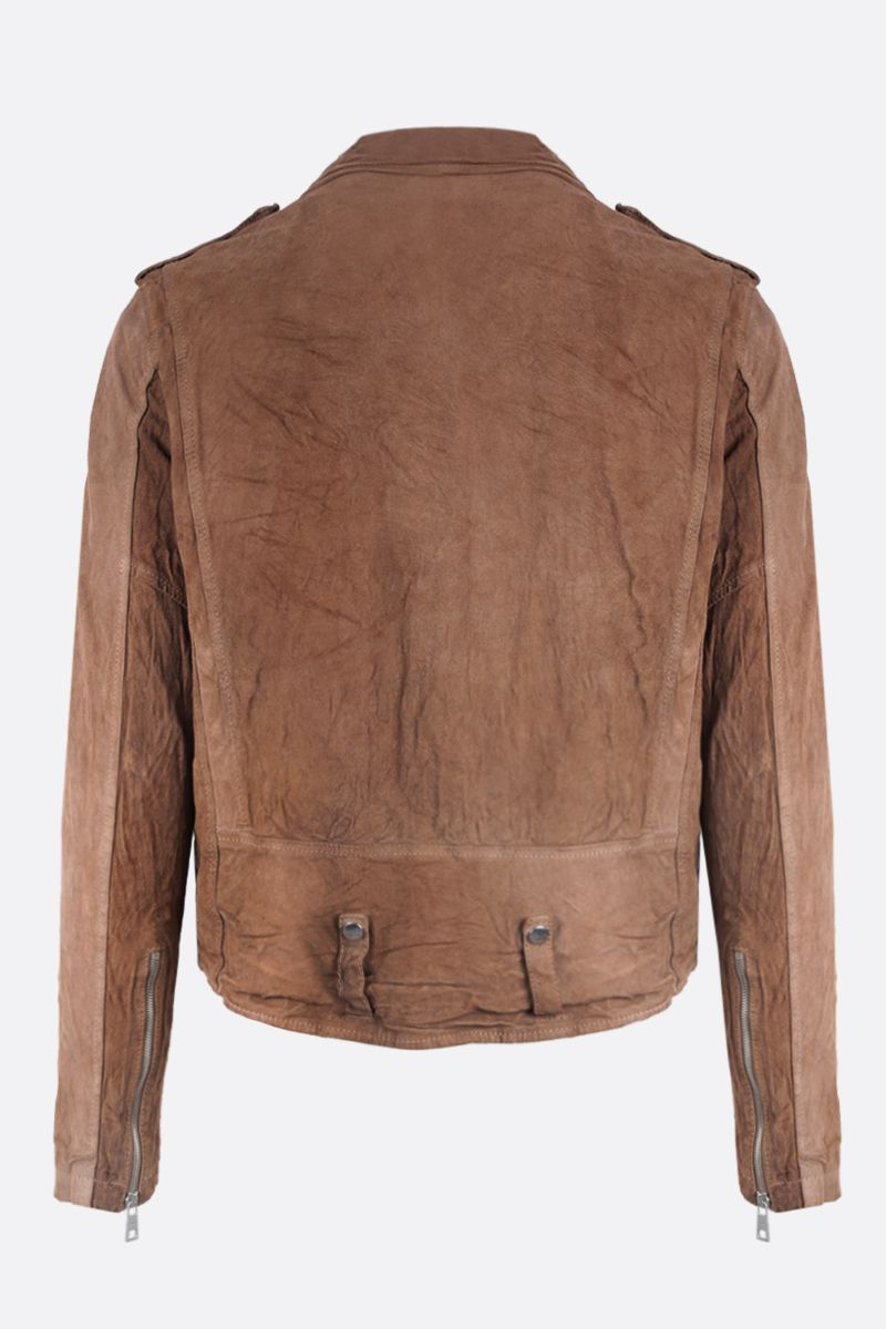 GIORGIO BRATO: reverse leather biker jacket Color Brown_2