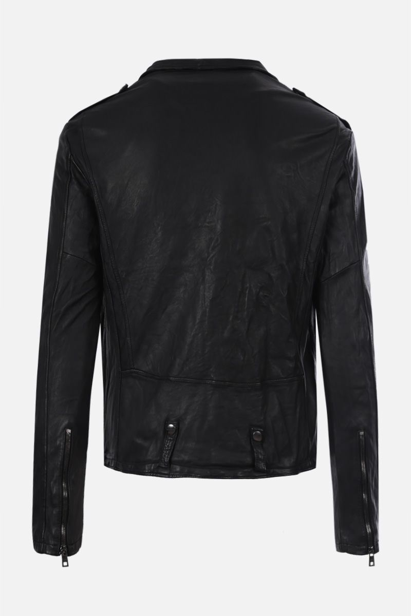 GIORGIO BRATO: soft leather biker jacket Color Black_2