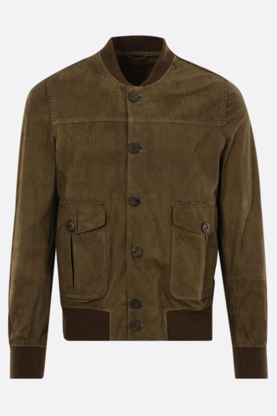 GIORGIO BRATO: soft suede bomber jacket Color Green_1
