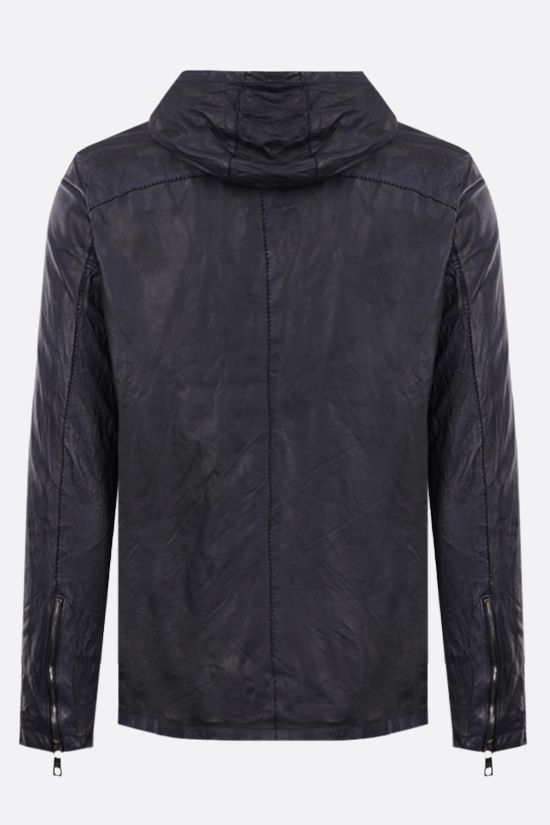 GIORGIO BRATO: full-zip crinkled-effect leather jacket Color Blue_2