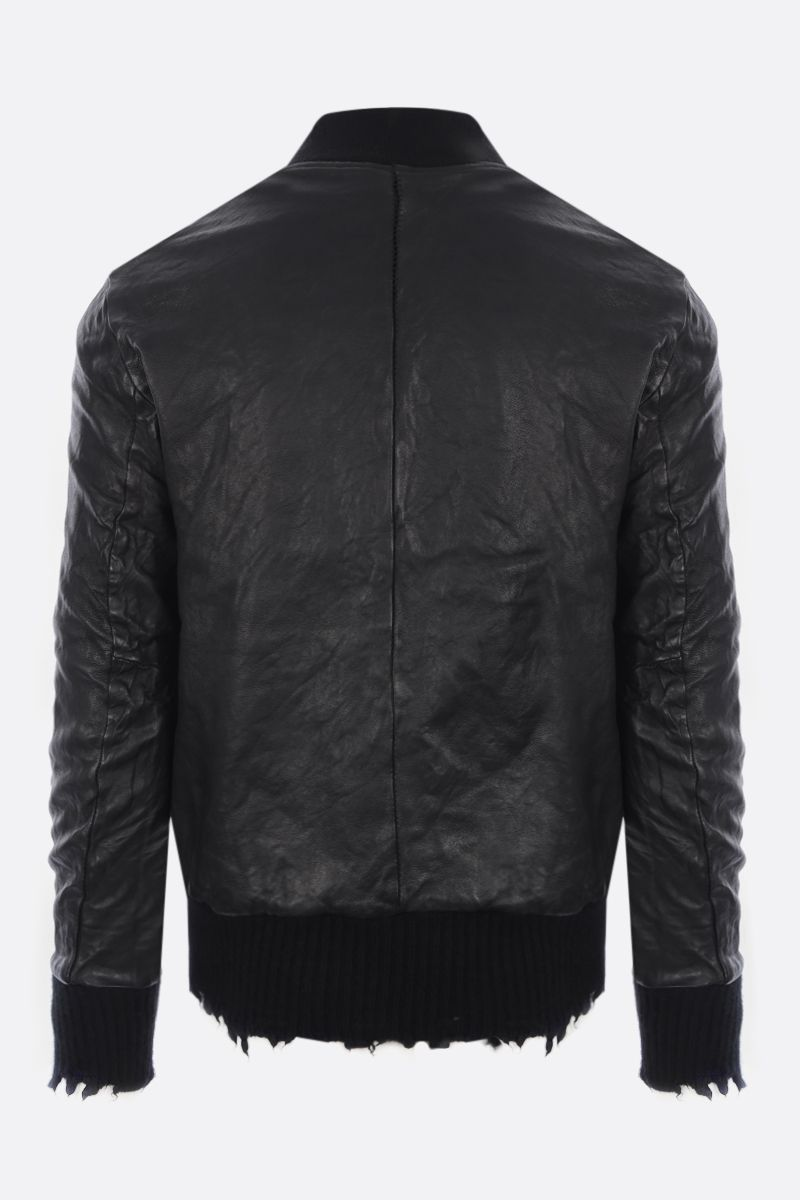 GIORGIO BRATO: leather bomber jacket with distressed-effect edges Color Black_2