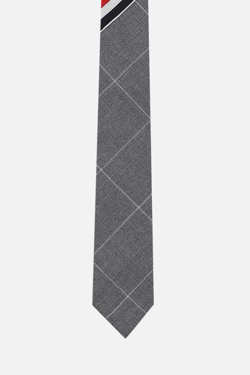 THOM BROWNE: tricolour-detailed wool patchwork tie Color Grey_1