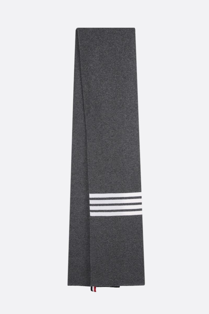 THOM BROWNE: 4-bar detailed wool scarf Color Grey_2