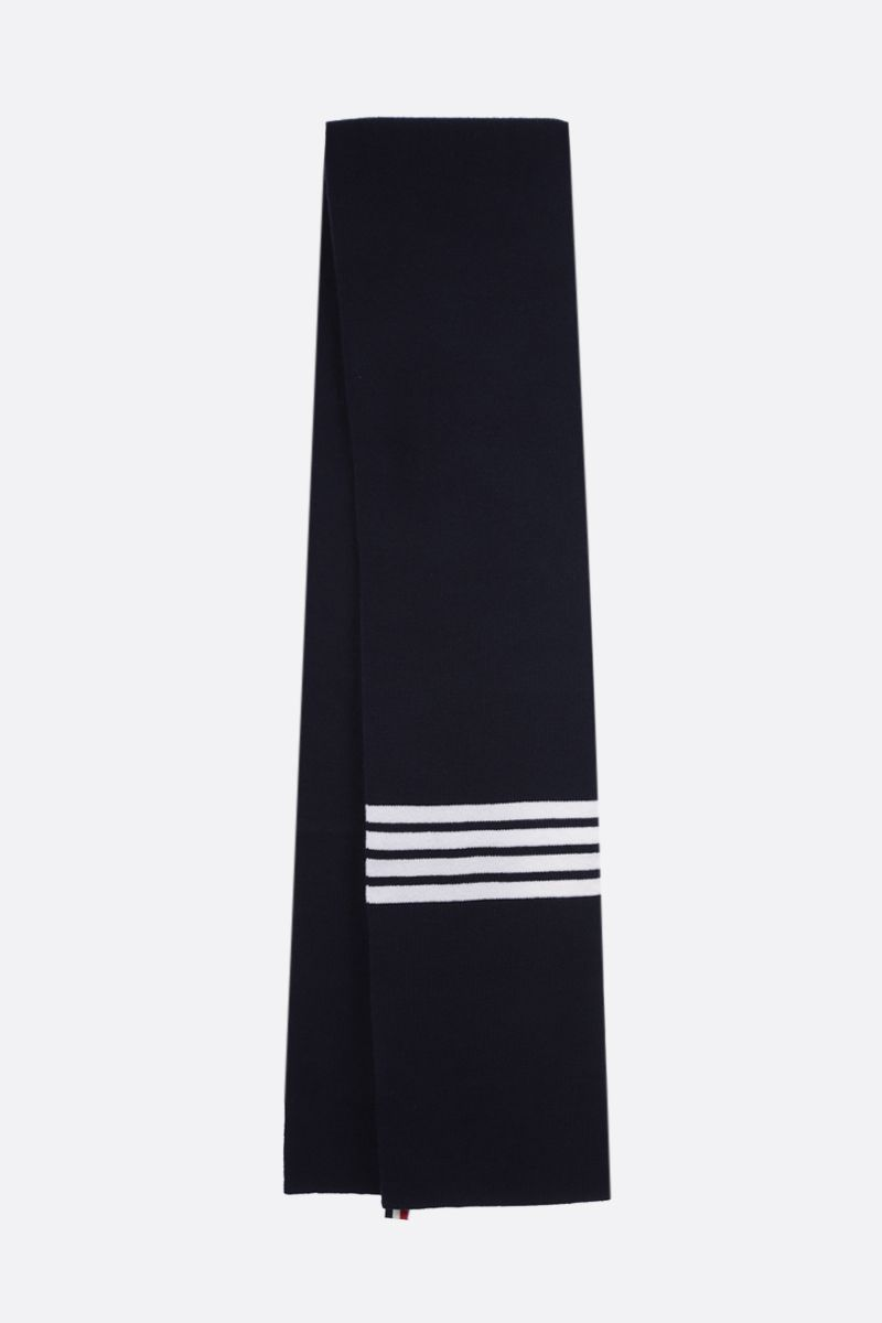 THOM BROWNE: 4-bar detailed wool scarf Color Blue_2
