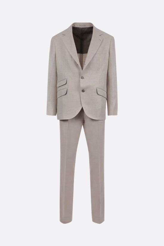 BRUNELLO CUCINELLI: linen wool silk blend two-piece suit Color Neutral_1