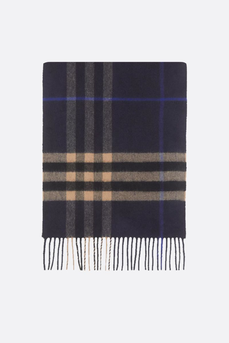 BURBERRY: sciarpa in cashmere a motivo Giant check Colore Blu_1