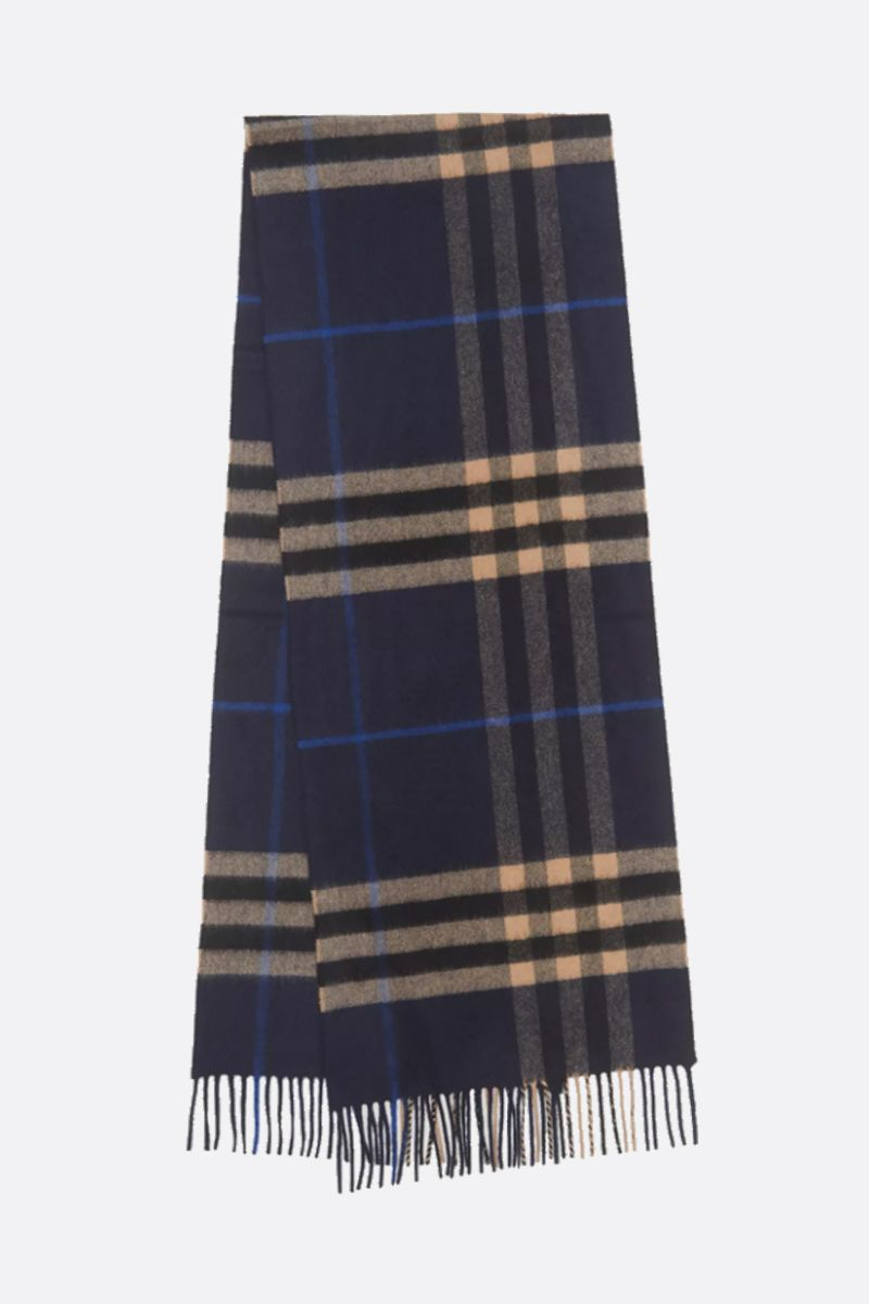 BURBERRY: sciarpa in cashmere a motivo Giant check Colore Blu_2