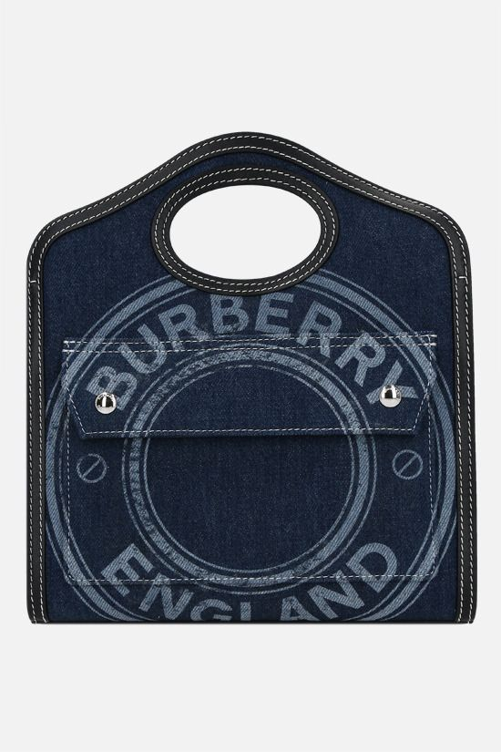 BURBERRY: borsa a mano Pocket mini in denim e pelle liscia Colore Blu_1