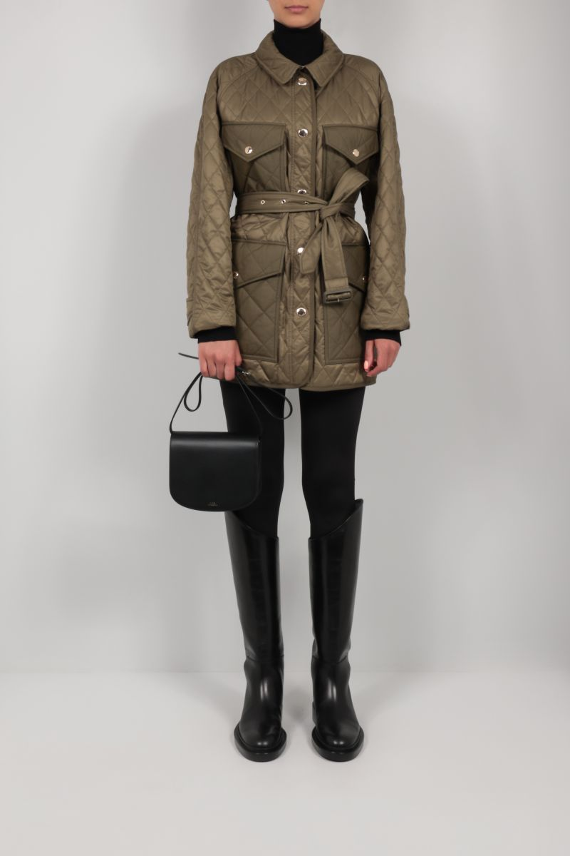 BURBERRY: Kemble quilted nylon field jacket Color Green_2
