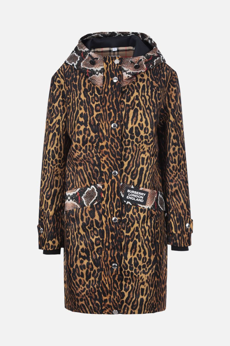 BURBERRY: Cramond parka in animal printed nylon Color Animalier_1