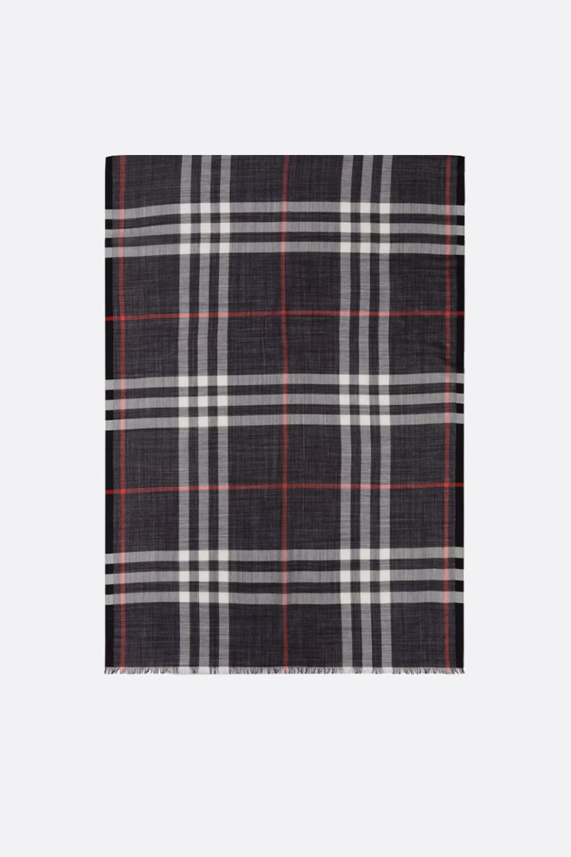 BURBERRY: Giant check wool silk blend scarf Color Blue_1