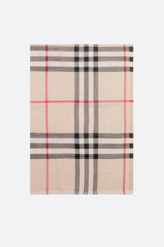 BURBERRY: Giant check wool silk blend scarf_1