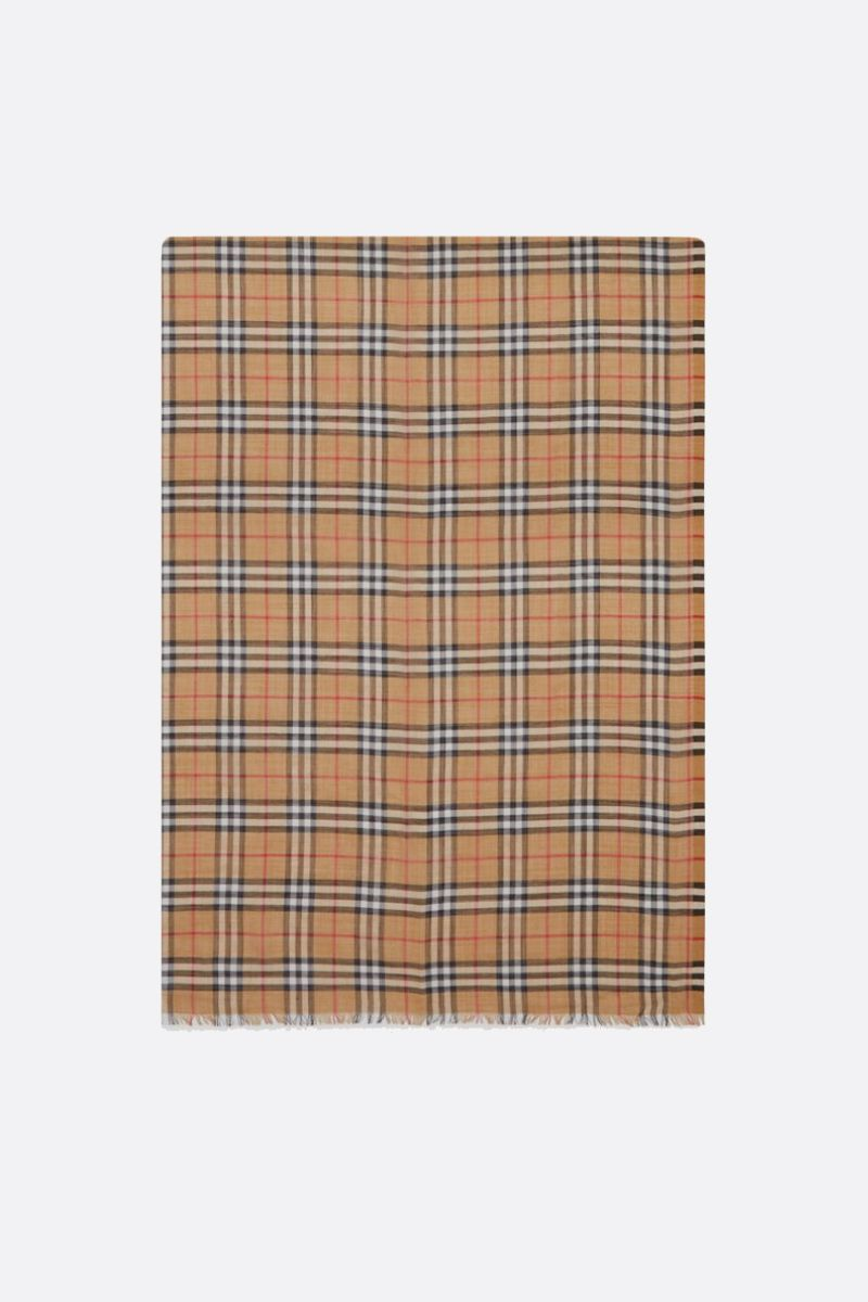 BURBERRY: Vintage check-motif wool silk blend scarf Color Yellow_1