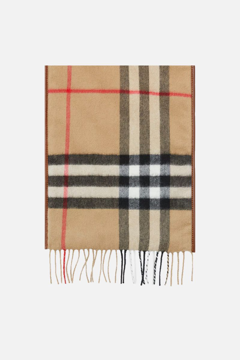 BURBERRY: cashmere padded scarf with leather trims Color Neutral_1