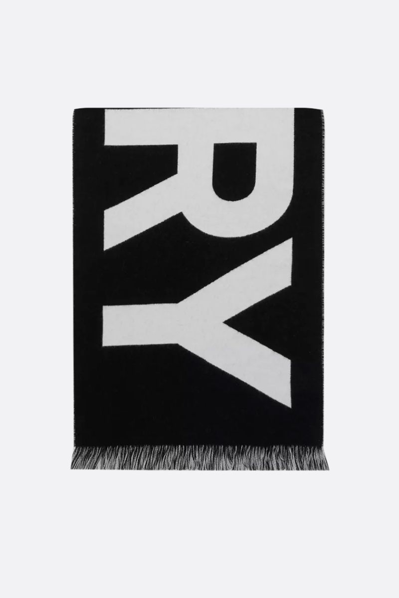 BURBERRY: jacquard logo wool scarf Color Black_1