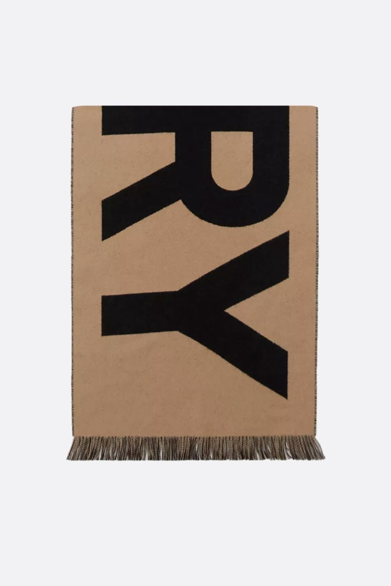 BURBERRY: jacquard logo wool scarf Color Brown_1