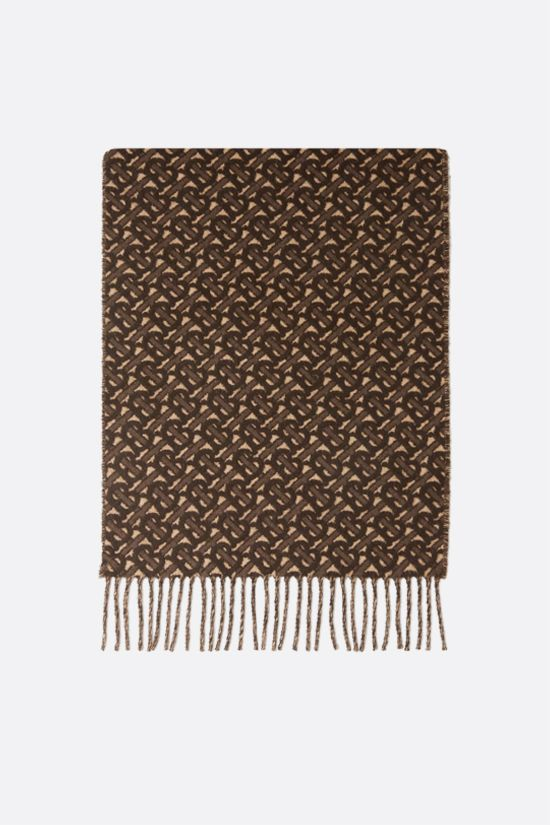 BURBERRY: cashmere scarf with TB monogram Color Brown_1