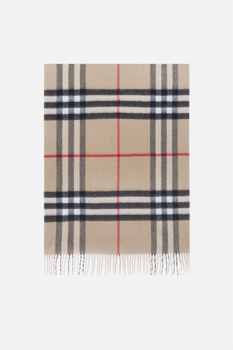 BURBERRY: reversible check cashmere scarf Color Neutral_1