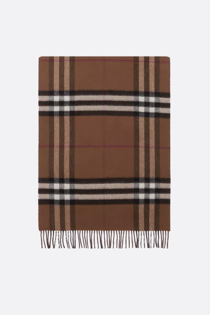 BURBERRY: reversible check cashmere scarf Color Brown_1