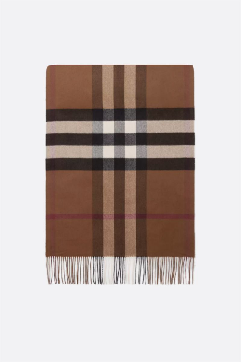 BURBERRY: check cashmere oversized scarf Color Neutral_1