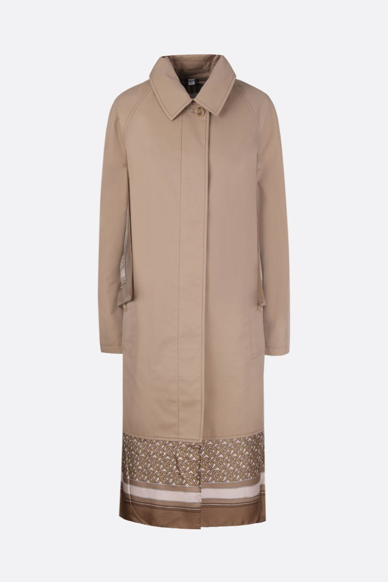 BURBERRY: gabardine single-breasted trench coat with twill inserts Color Brown_1