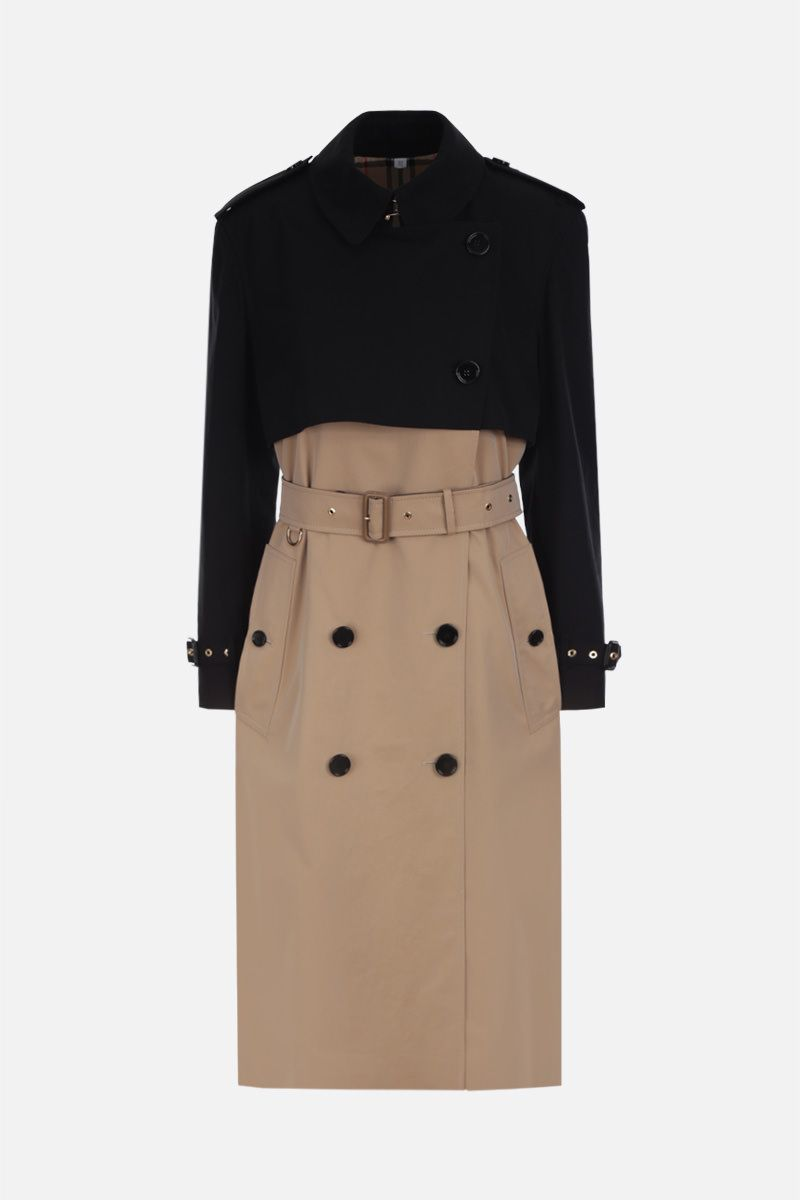 BURBERRY: Deighton double-breasted trench coat in colour-block gabardine Color Multicolor