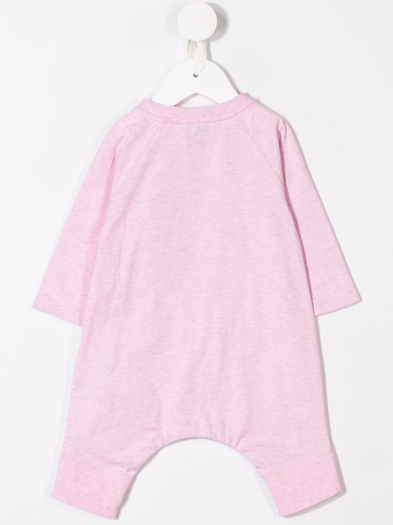 BURBERRY CHILDREN: logo print cotton playsuit Color Pink_2