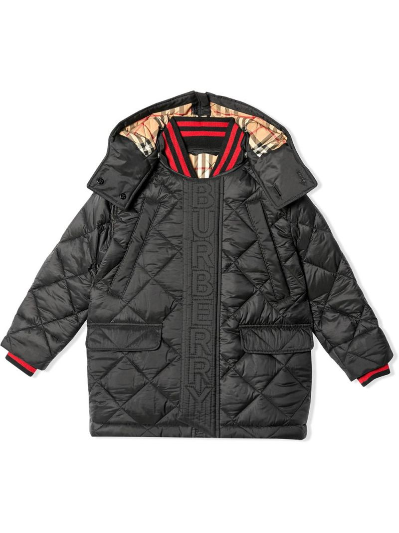 BURBERRY CHILDREN: logo-detailed nylon padded jacket Color Black_1