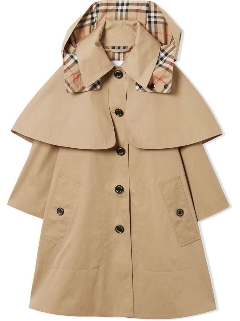 BURBERRY CHILDREN: cotton twill single-breasted trench coat with cape detail Color Yellow_1
