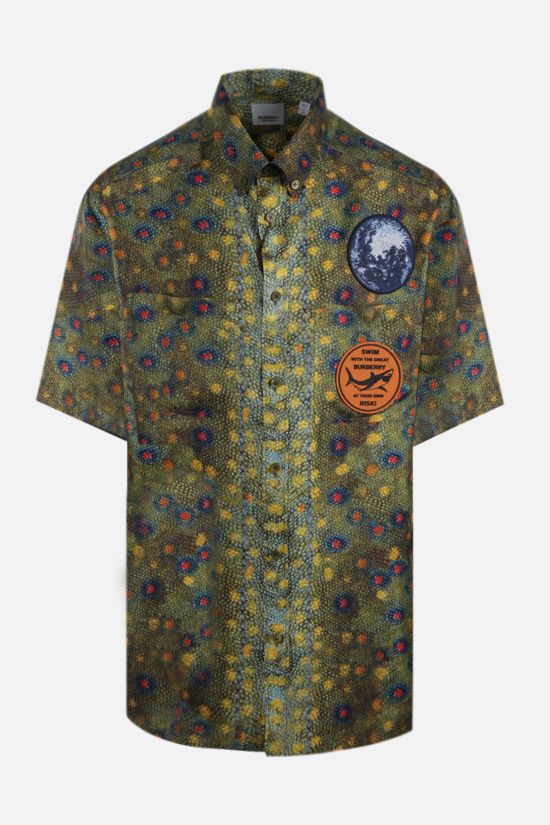 BURBERRY: fish-scale print silk bowling shirt Color Green_1