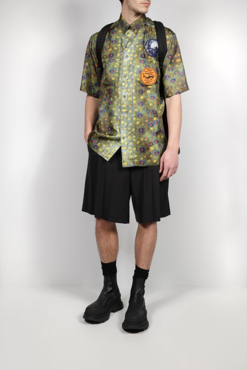 BURBERRY: fish-scale print silk bowling shirt Color Green_2
