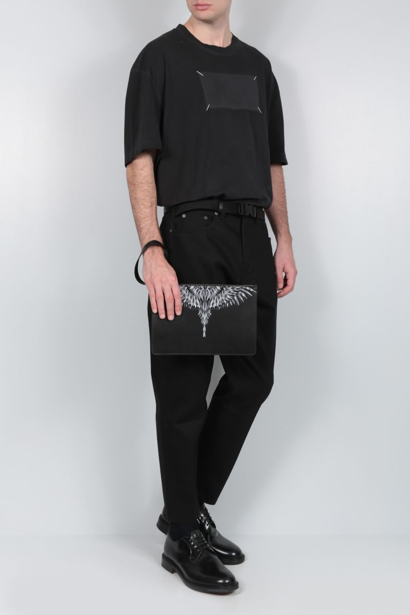MARCELO BURLON COUNTY OF MILAN: clutch Sharp Wings in pelle liscia Colore Nero_2