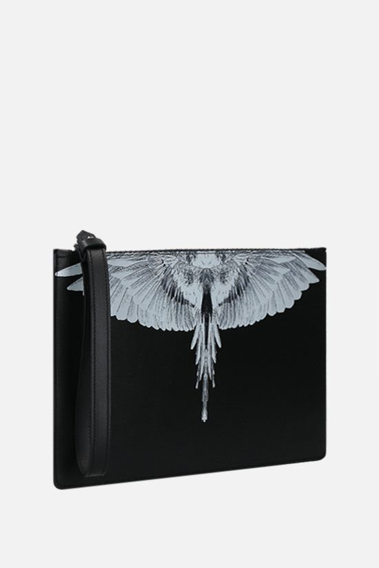 MARCELO BURLON COUNTY OF MILAN: Wings smooth leather clutch Color Black_2