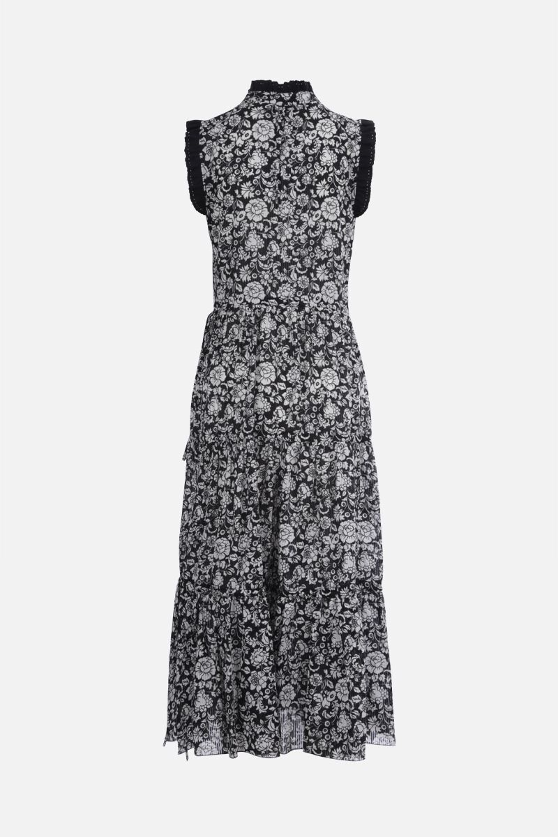 SEE BY CHLOÈ: Graphic peonies print cotton sleeveless dress Color Black_2