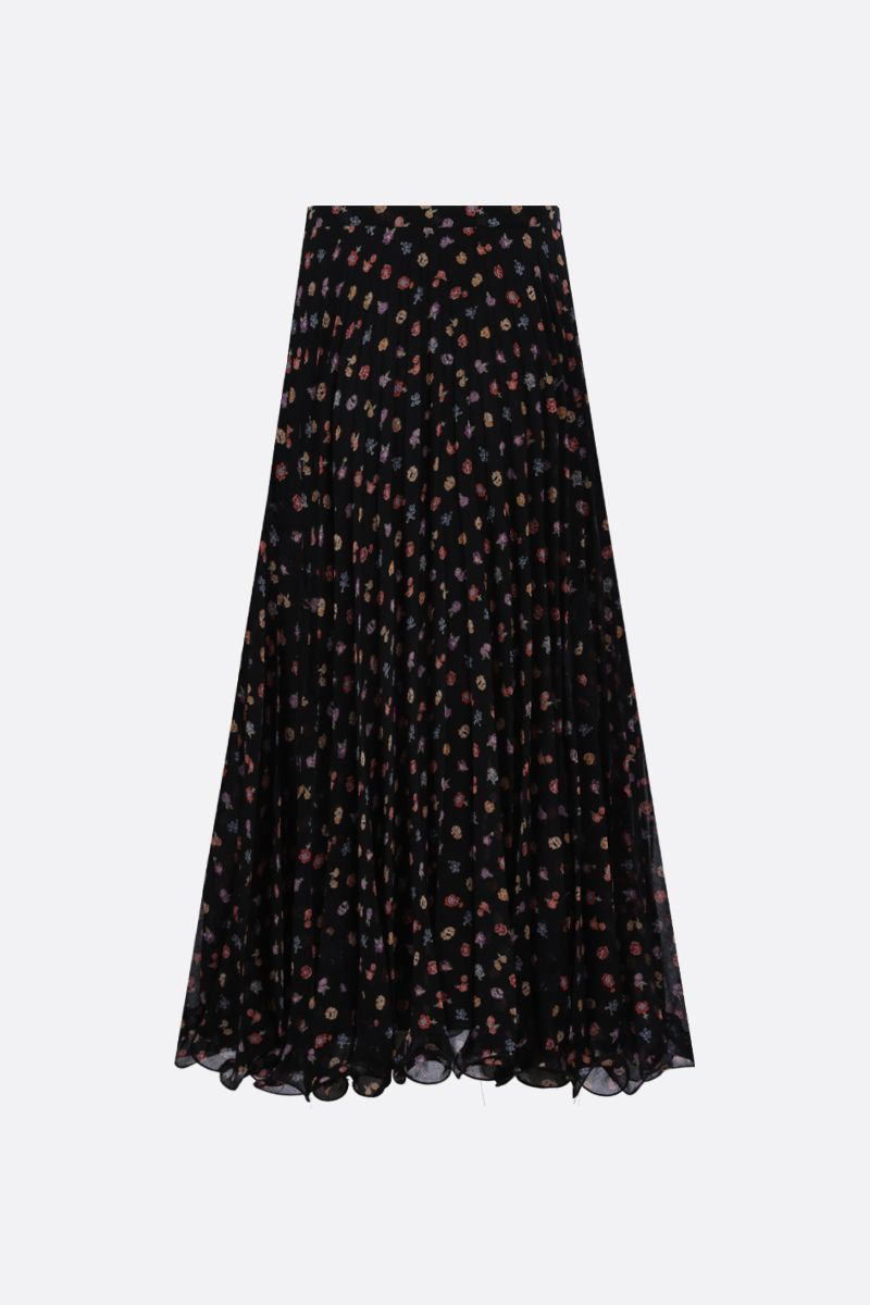 SEE BY CHLOÈ: floral print georgette pleated skirt Color Black_2
