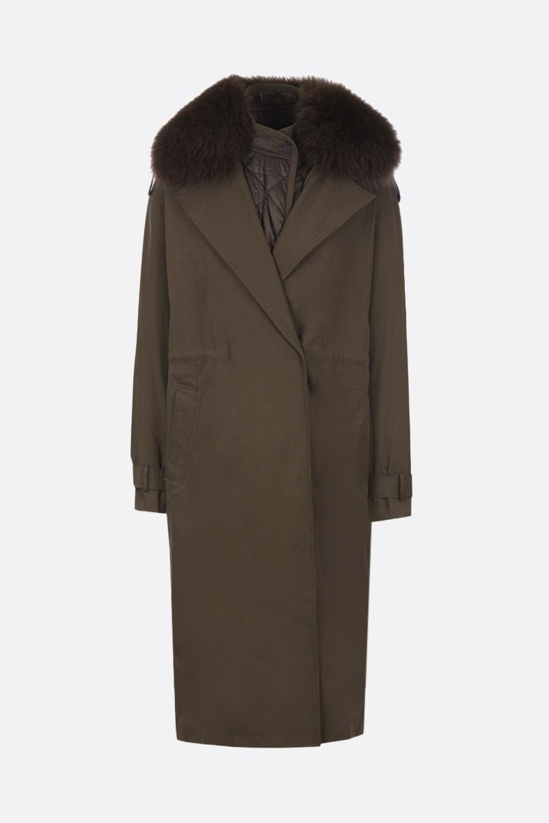 ARMY BY YVES SALOMON: technical cotton overcoat with fur detail Color Green_1
