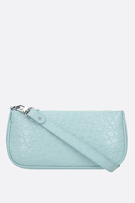 BY FAR: Rachel croc-embossed leather shoulder bag Color Neutral_1
