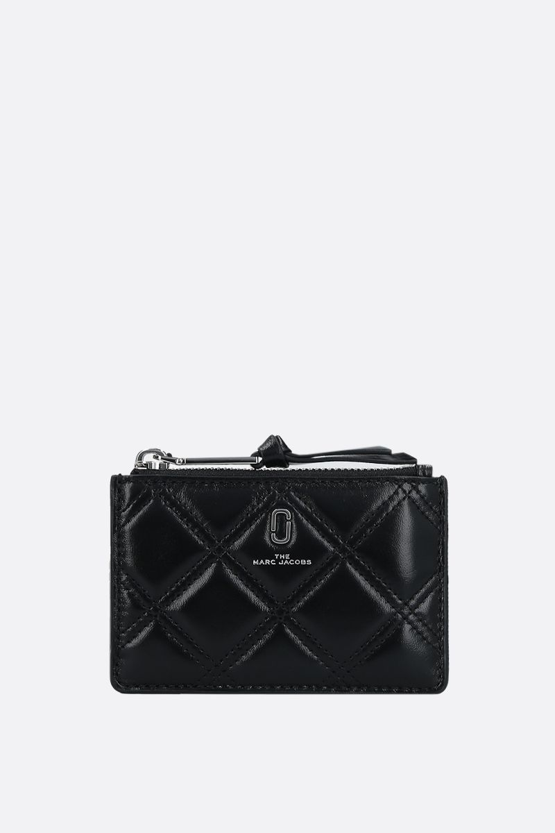 MARC JACOBS: quilted leather zip card case Color Black_1