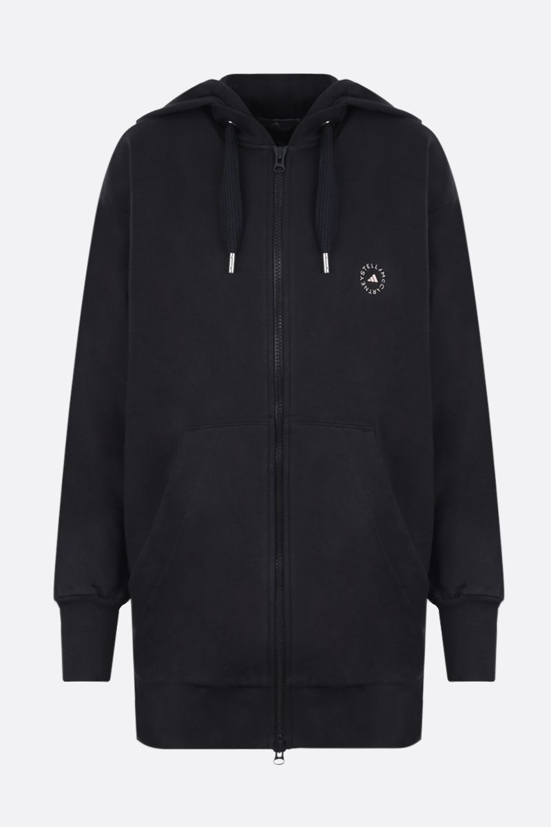 ADIDAS BY STELLA McCARTNEY: felpa full-zip in misto cotone stampa logo Colore Nero_1