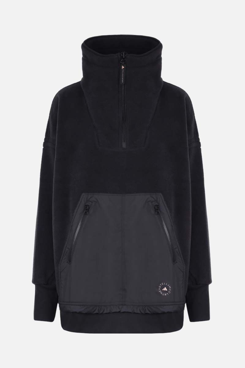 ADIDAS BY STELLA McCARTNEY: felpa in pile stampa logo Colore Nero_1