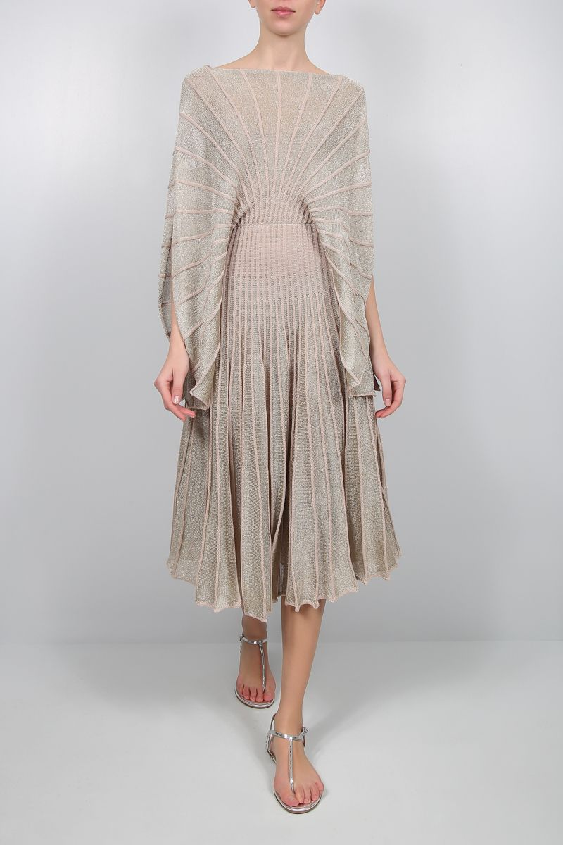 STELLA McCARTNEY: lurex knit midi dress Color Multicolor_2