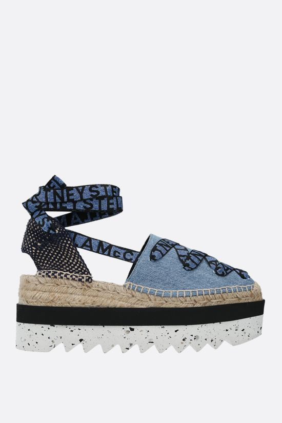 STELLA McCARTNEY: Gaia denim and jute flatform espadrilles Color Blue_1