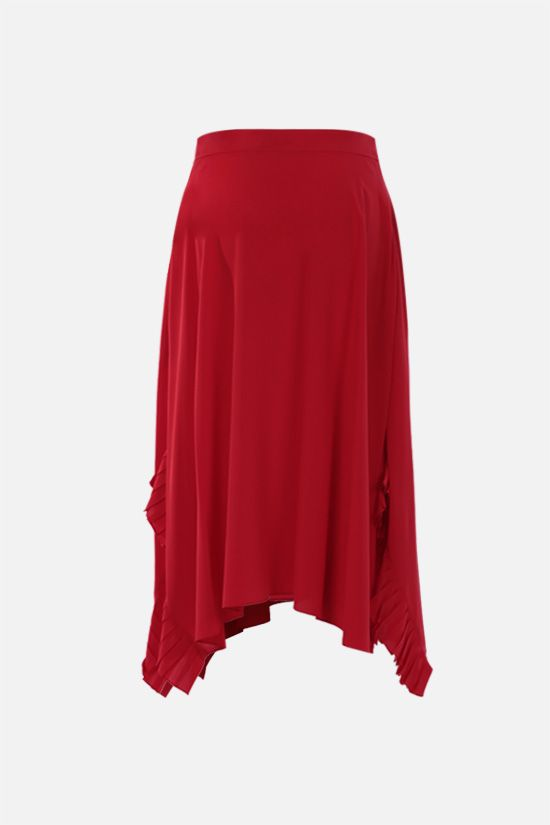 STELLA McCARTNEY: pleated rouche-detailed silk midi skirt Color Red_2