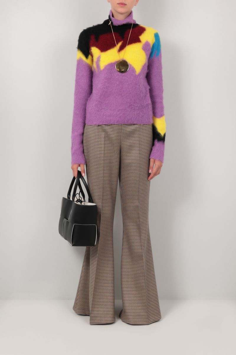 STELLA McCARTNEY: Mona houndstooth wool flared pants Color Brown_2