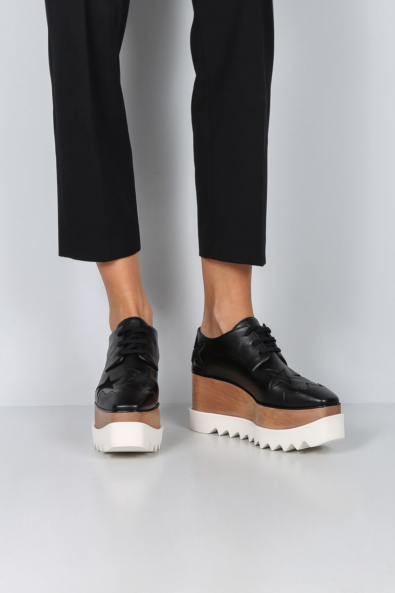 STELLA McCARTNEY: Elyse derby shoes in Alter Nappa with stars intarsia Color Black_2
